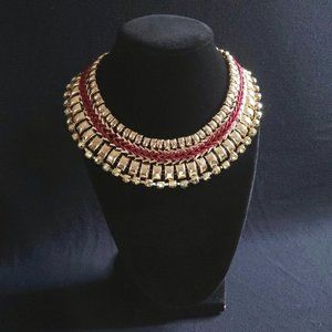 Gold tone red threaded lightweight collar necklace